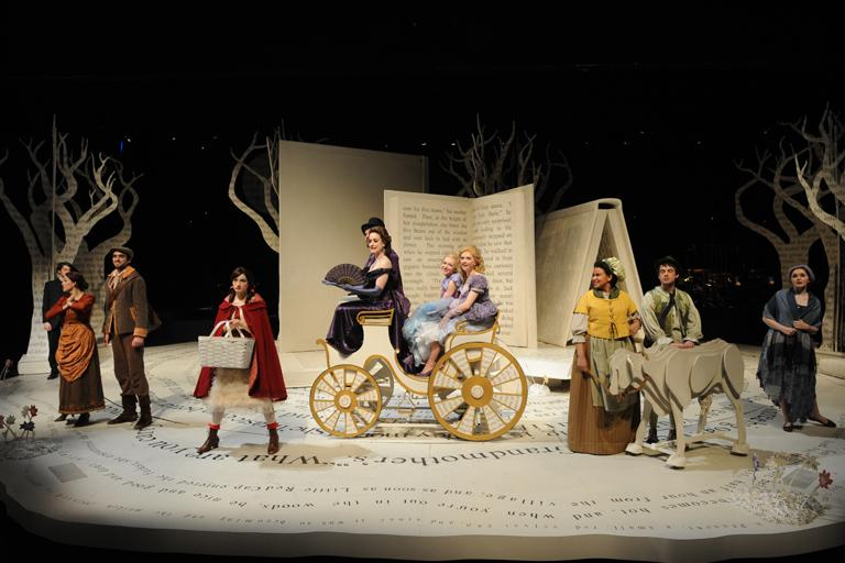 """Joe Fasciano and Alex Panek worked the turntables and motor-controlled trees for UNCSA production """"Into the Woods."""""""