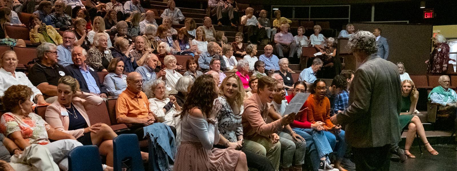 Scott Zigler, UNCSA Dean of Drama, addresses first year Drama students at Associates 2019 Fall Kick Off and Membership Drive