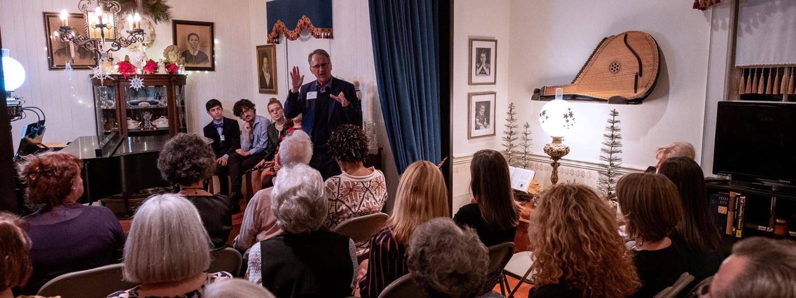 Tony Woodcock, addressed guests at Salon @ Six