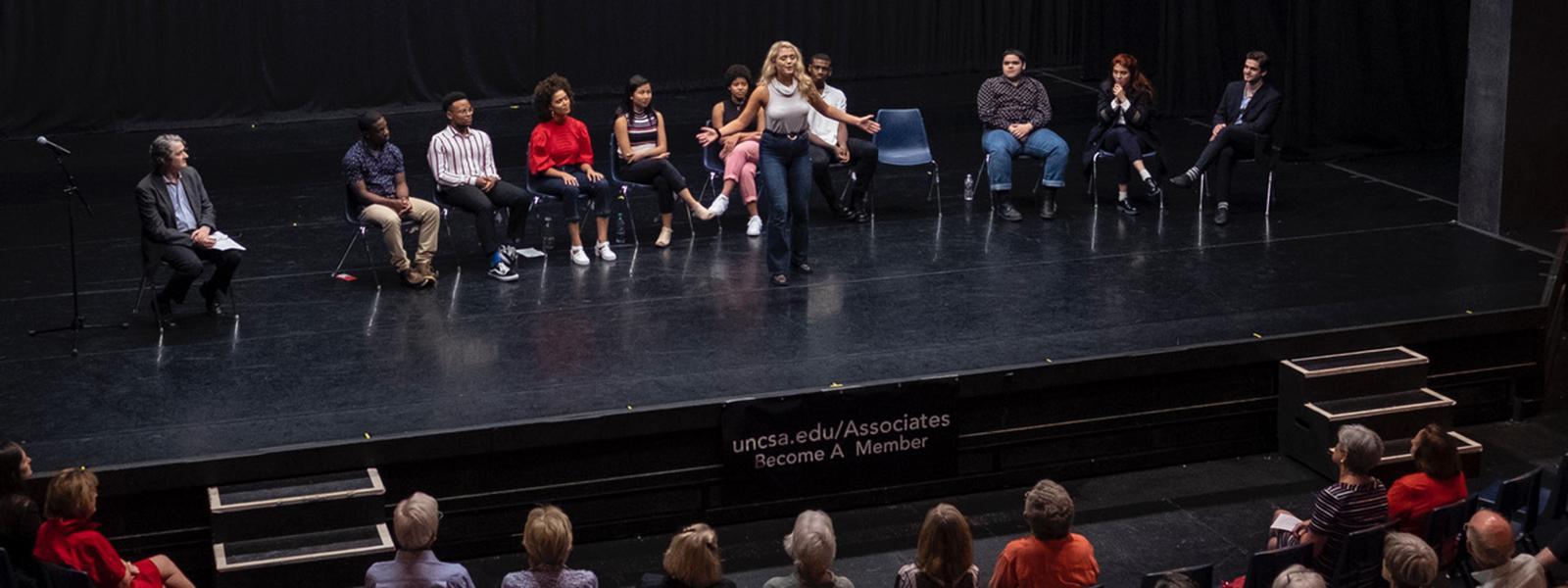 Selected first year Drama students reprise monologues at Associates Fall Kick Off and Membership Drive