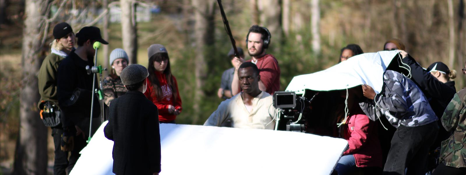 "On set of fourth year film ""Solitude"""