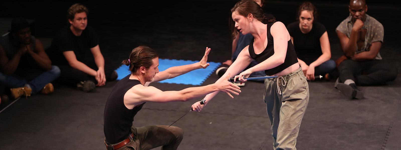 Samuel Farnsworth and Julia Crytser, fight demonstration