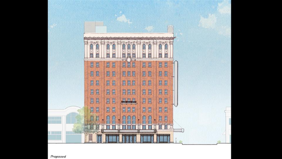 The Stevens Center master plan proposes a historic preservation of the building's 1929 façade and recreation of missing elements from the exterior of the Carolina Theatre including two marquees, the street level façade, and the corner blade sign. The 1983 curtain wall will be removed and this portion of the façade will be restored to its original condition using brick salvaged from the rear of the tower or stage house.