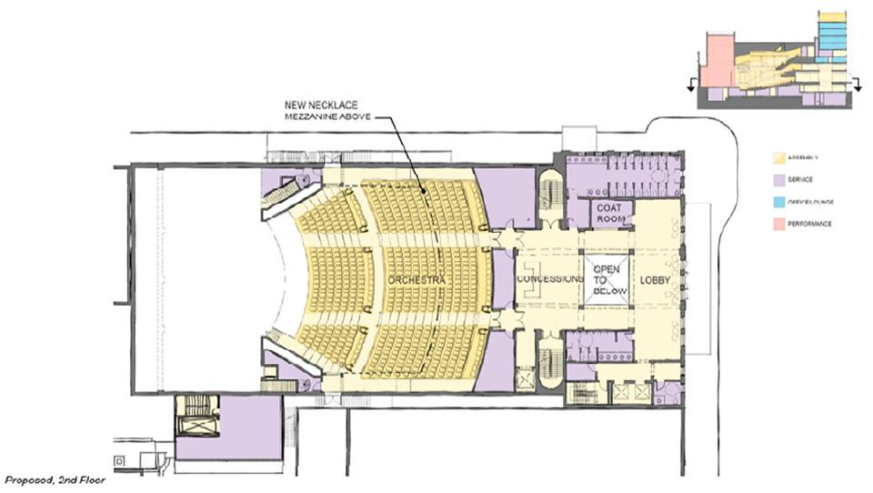 Concessions and amenities will be added at each lobby level and the toilet fixture count serving the lobby space will be increased from the current 2 fixtures per 100 patrons to 4 fixtures per 100 patrons. All levels of the theatre and all amenities and concessions will have accessible routes and wheelchair spaces will be distributed within the orchestra, parterre, necklace and balcony levels. Seat widths will average 20 inches while row‐to‐row dimensions will be at least 40 inches. Total seat count will decrease from 1,366 to 1,024 in exchange for a vastly improved patron experience.