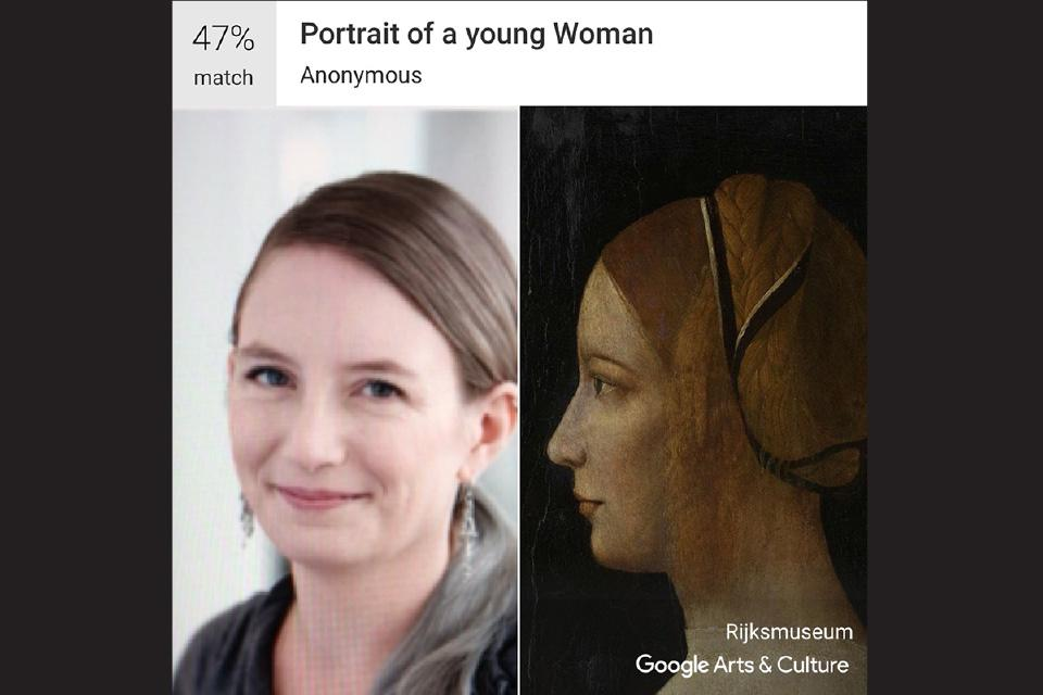 """Kaitlin Botts, Visual Arts - Color & Design / Anonymous """"Portrait of a young woman"""""""