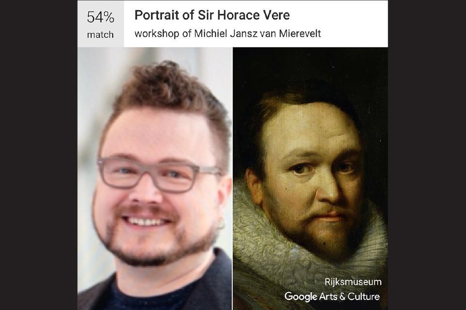 """Jason Estrada, Wig & Makeup / Michiel Jansz van Mierevelt's """"Portrait of Sir Horace Vere"""""""