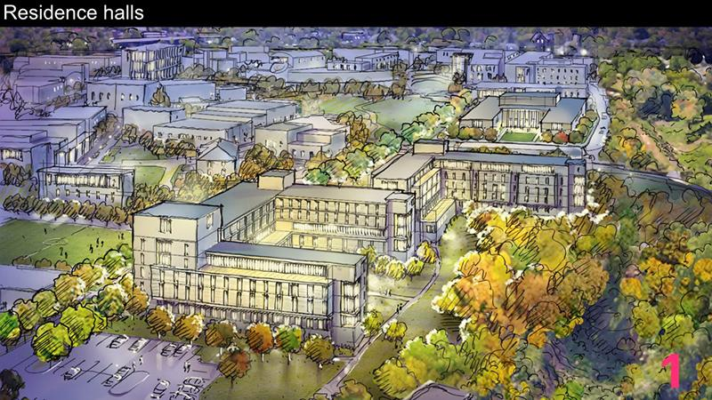 The proposed new housing will offer a range of unit types. This conceptual plan illustrates the location, size, and massing of the residence halls. The building located on the Lower Housing site is the proposed academic and performance building.