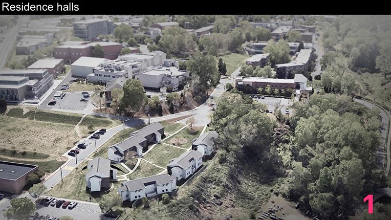 This aerial view shows Bailey Street Apartments in the foreground and Lower Housing in the far right. The Master Plan proposes to replace Bailey Street Apartments with new housing for 550 – 650 or more students.