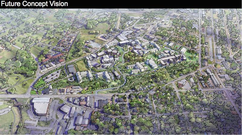 The Master Plan vision of the UNCSA campus in the future. The principles that shape the plan are taken from existing campus cues and sound planning principles.