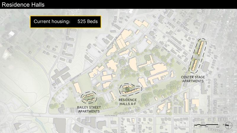 Current campus housing provides 525 beds across three Residence Hall communities.