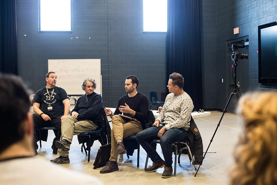 Alumni Billy Magnussen and Shane Andries, the Dean of Drama Scott Zigler and Drama Professor Dale Girard talk to students about self-taping and self-submitting auditions. / Photos: Roxanna Peykamian