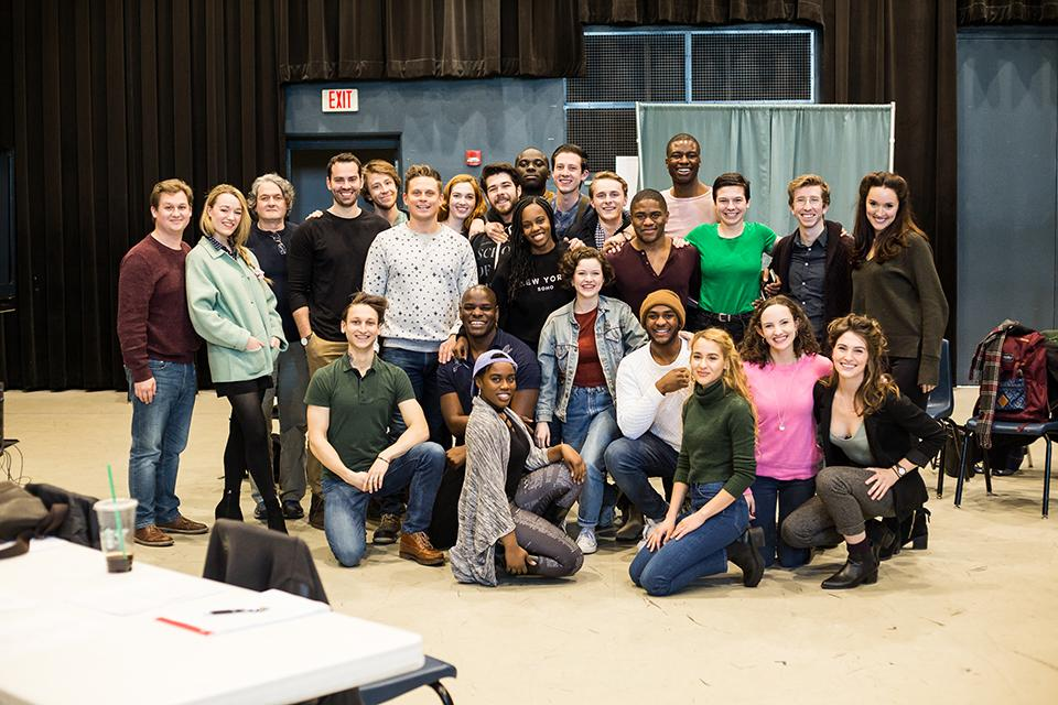 Alumni Billy Magnussen and Shane Andries with fourth-year drama students.