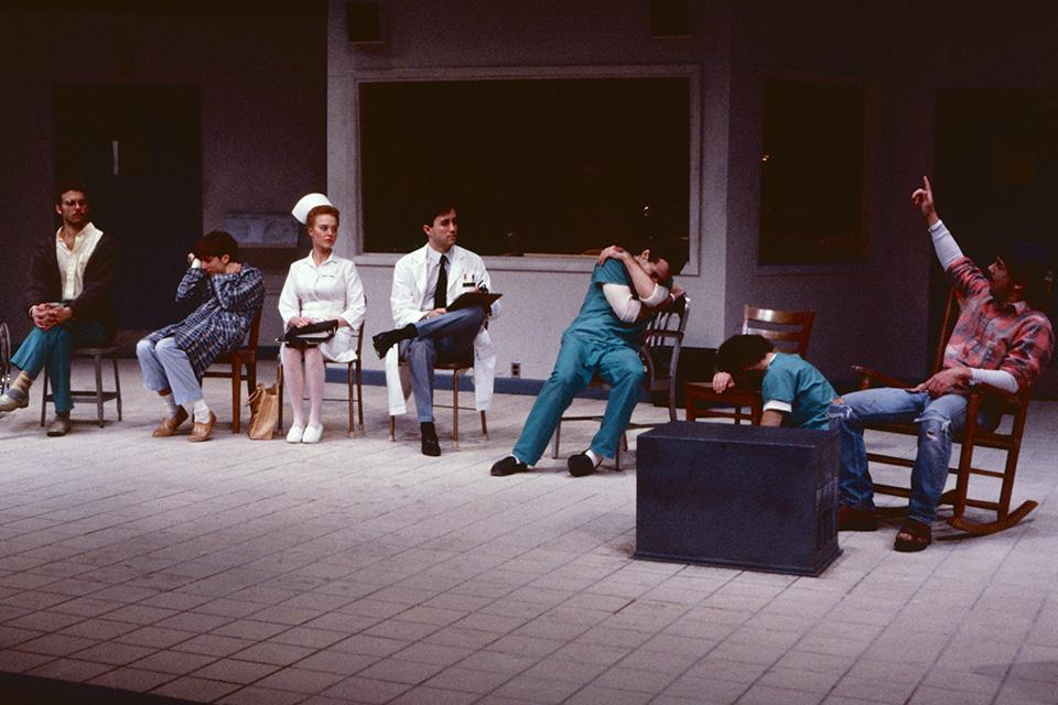 "Chris Parnell (far right) had a lead role in UNCSA's production of ""One Flew Over The Cuckoo's Nest."" / Photo: Kurt Eslick, courtesy of UNCSA Archives"