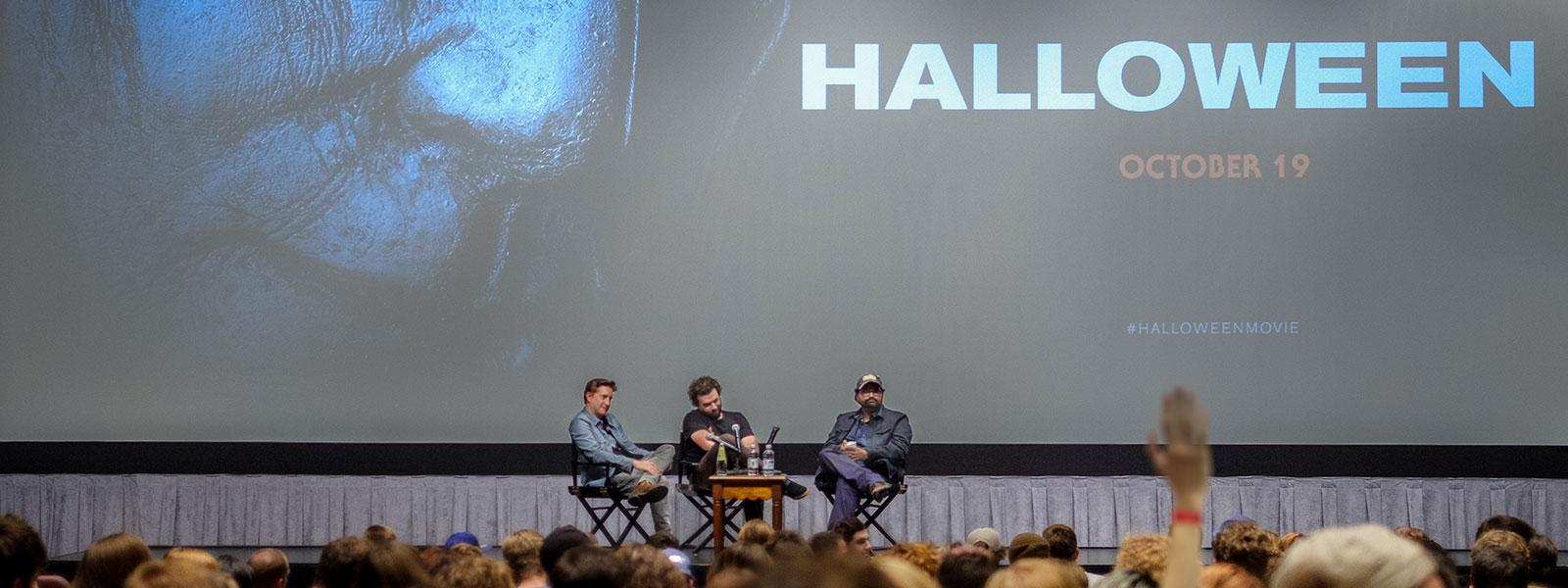 "Alumni David Gordon Green, Danny McBride and Jeff Fradley screen ""Halloween,"" a film they co-wrote, for students ahead of its theatrical release, 2018."