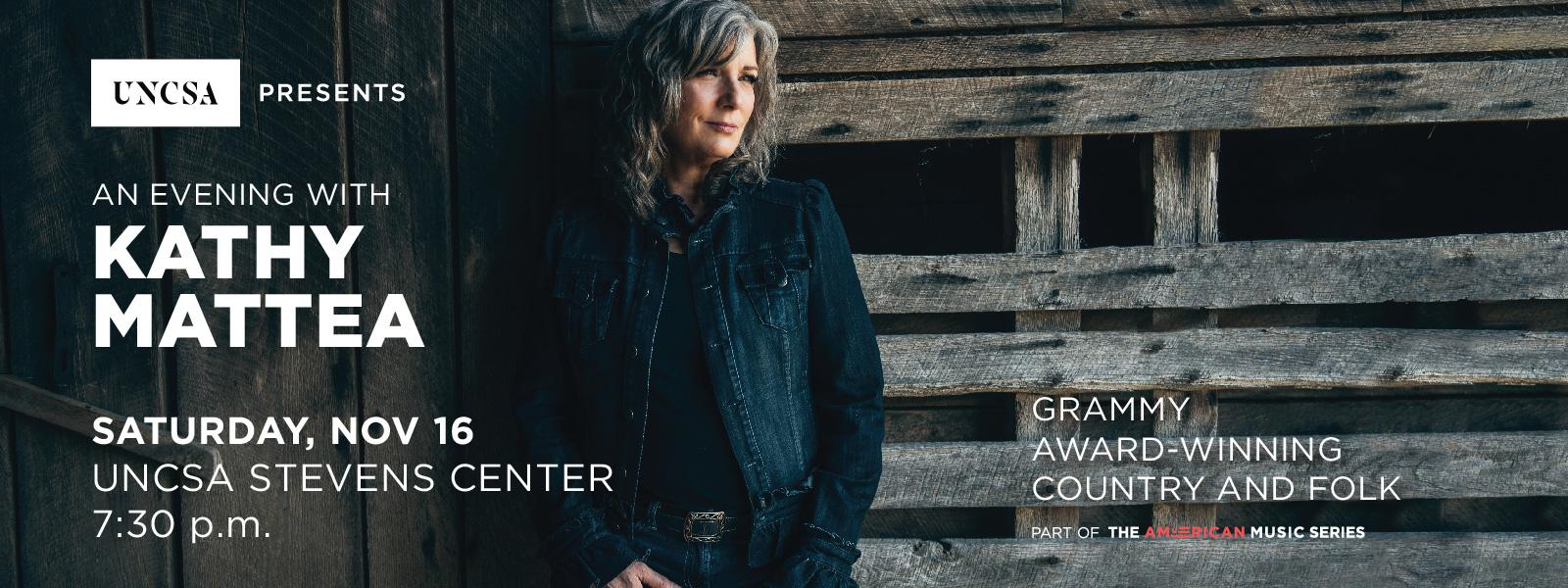 Join us for An Evening with Kathy Mattea at the Stevens Center.>>BUY TICKETS