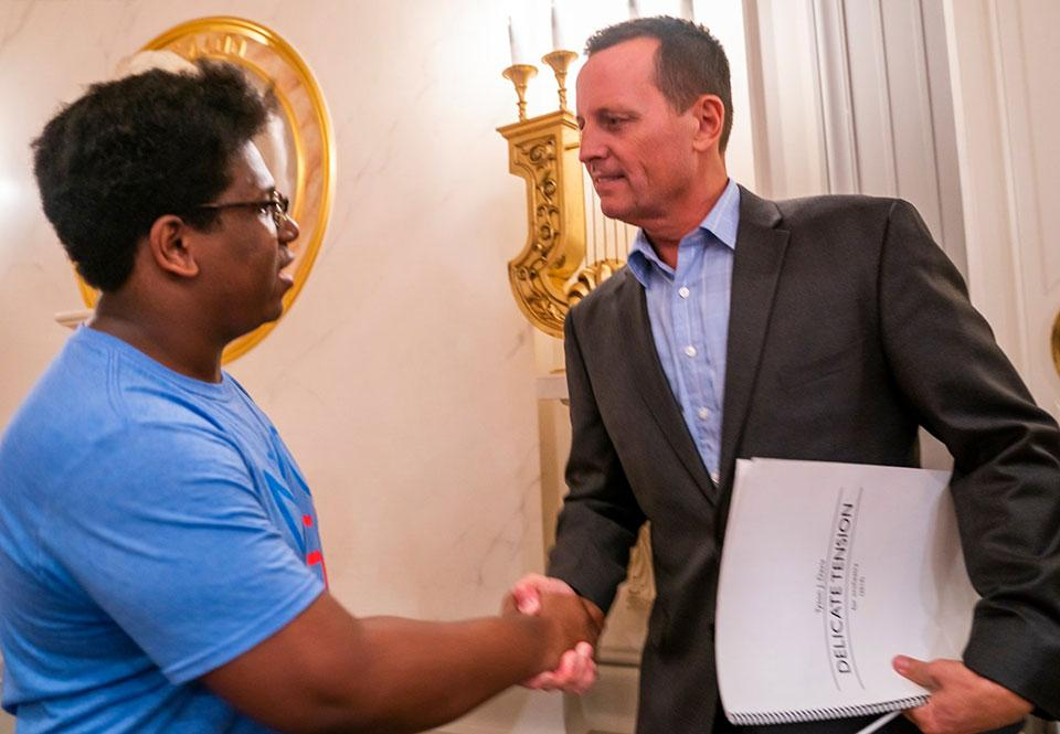 """Tyson J. Davis (left) meets with U.S. Ambassador to Germany Richard Grenell prior to the performance of """"Delicate Tension"""" in Berlin. Photo: Chris Lee Photographer"""