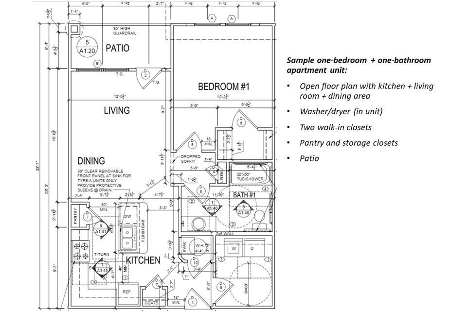 Sample one-bedroom + one-bathroom apartment unit.