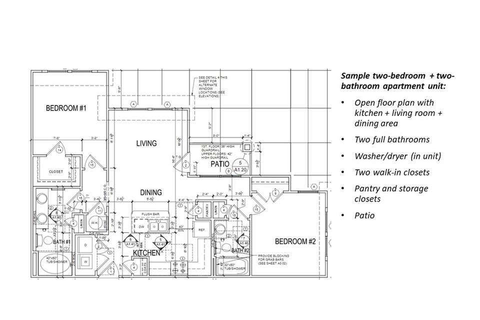 Sample two-bedroom + two-bathroom apartment unit.