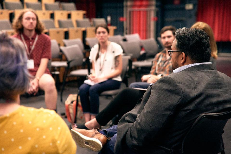 Featured artist Vijay Gupta leads a discussion with Creative Catalyst fellows.