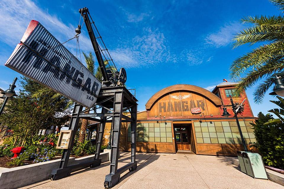 "Jock Lindsey's Hangar Bar in Disney Springs is inspired by the Indiana Jones character from ""Raiders of the Lost Art."" Gearhart worked as a set decorator on the project, which is styled as a 1940s airplane hangar turned dive bar. / Photo: Disney"