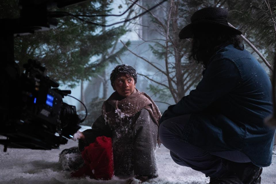 "Raunak Kapoor on set at UNCSA directing ""Lost in the Red Snow,"" a film he also wrote. / Photo: Hailey Cheyenne Port"