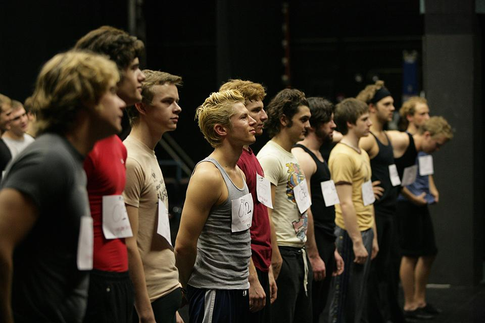 """Sharks or Jets? Drama students audition for """"West Side Story"""" in Agnes De Mille Theatre."""