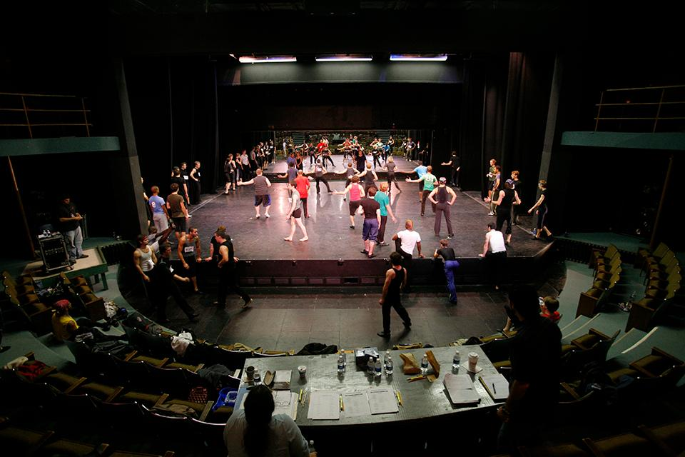 "Students participate in group auditions for ""West Side Story"" in Agnes de Mille Theatre."