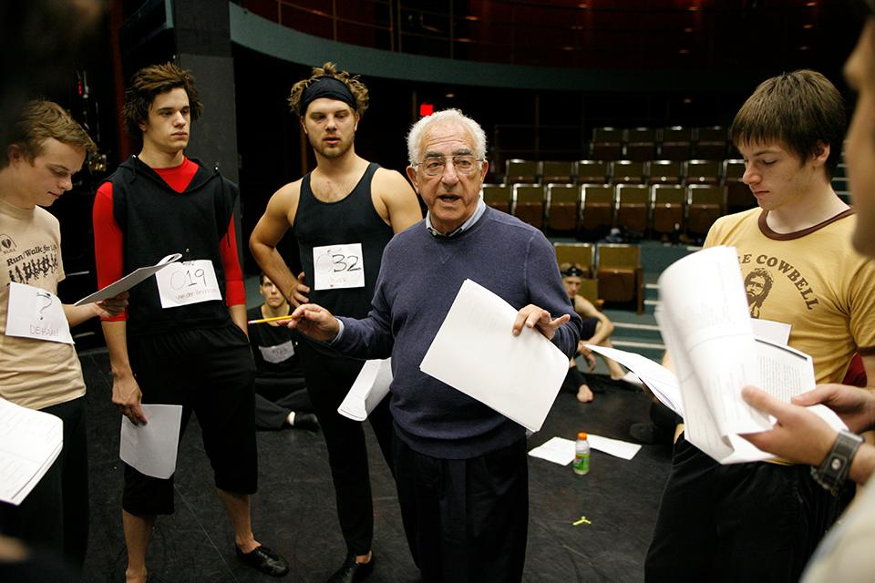 Gerald Freedman instructs students during group auditions.