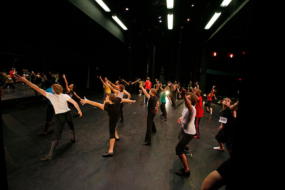 """Students participate in group auditions for """"West Side Story"""" in Agnes de Mille Theatre."""