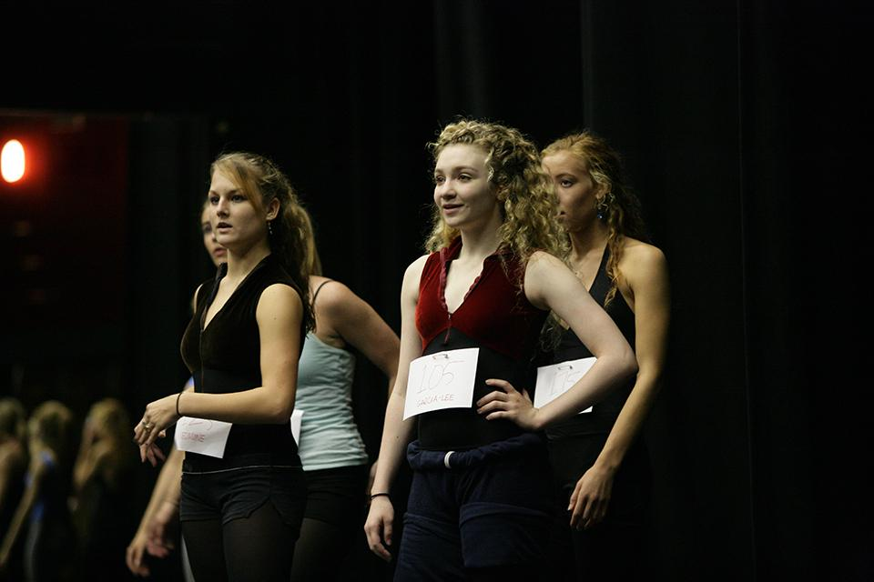 "Paloma Garcia-Lee '08 participates in group auditions for ""West Side Story"" in Agnes de Mille Theatre."