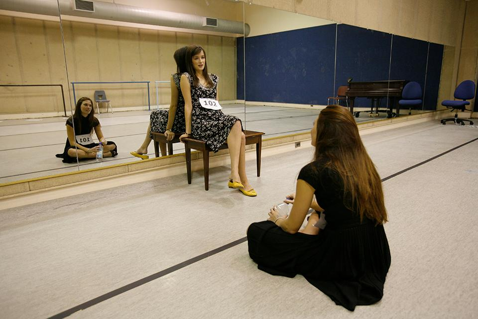 Anna Wood '08 and Katharine Elkington '08 audition for the part of Maria.