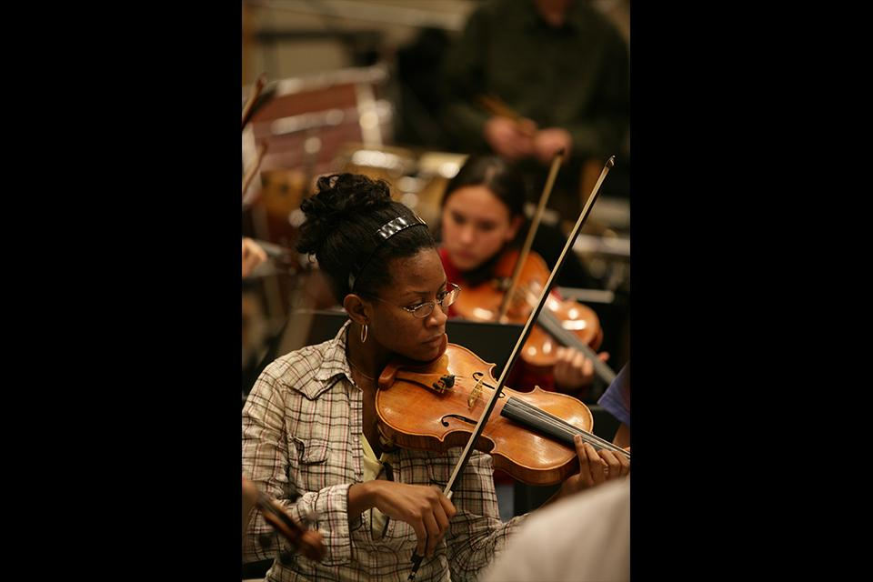 """Orchestra rehearsal for """"West Side Story."""""""