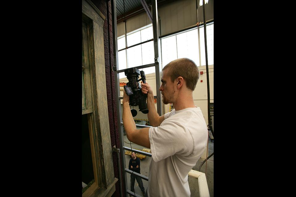 """A film student captures behind the scenes footage of """"West Side Story"""" prep in the D&P shops."""