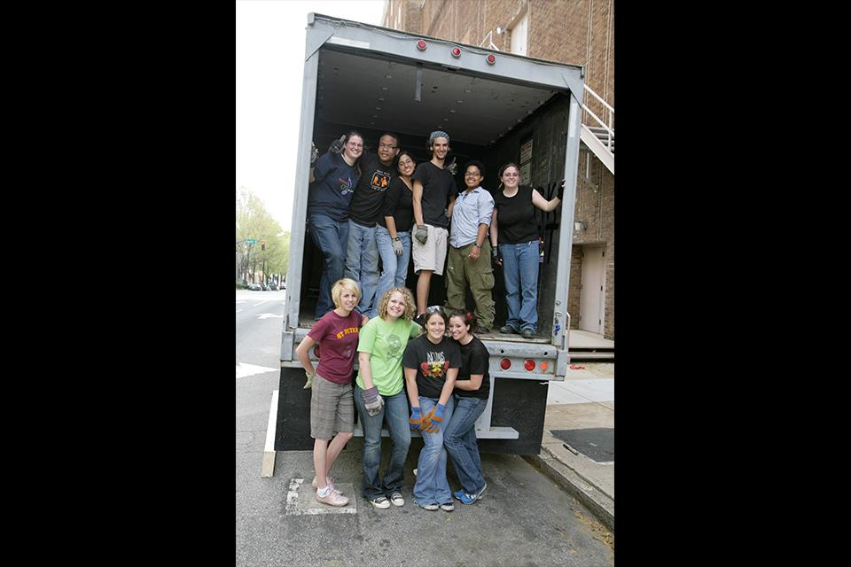 "D&P students load in at the Stevens Center for ""West Side Story."""