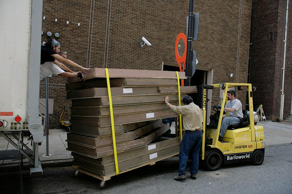 """D&P students and faculty load in at the Stevens Center for """"West Side Story."""""""