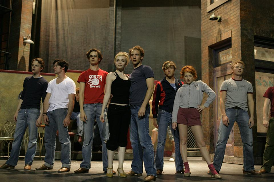 "Students rehearse a ""West Side Story"" scene at the Stevens Center."