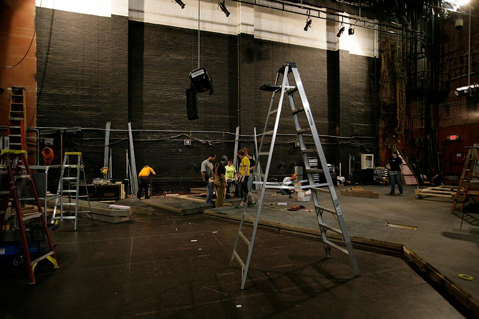 """D&P students load in at the Stevens Center for """"West Side Story."""""""