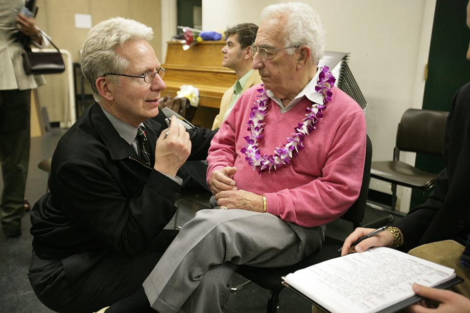John Mauceri and Gerald Freedman compare notes after the opening night performance.
