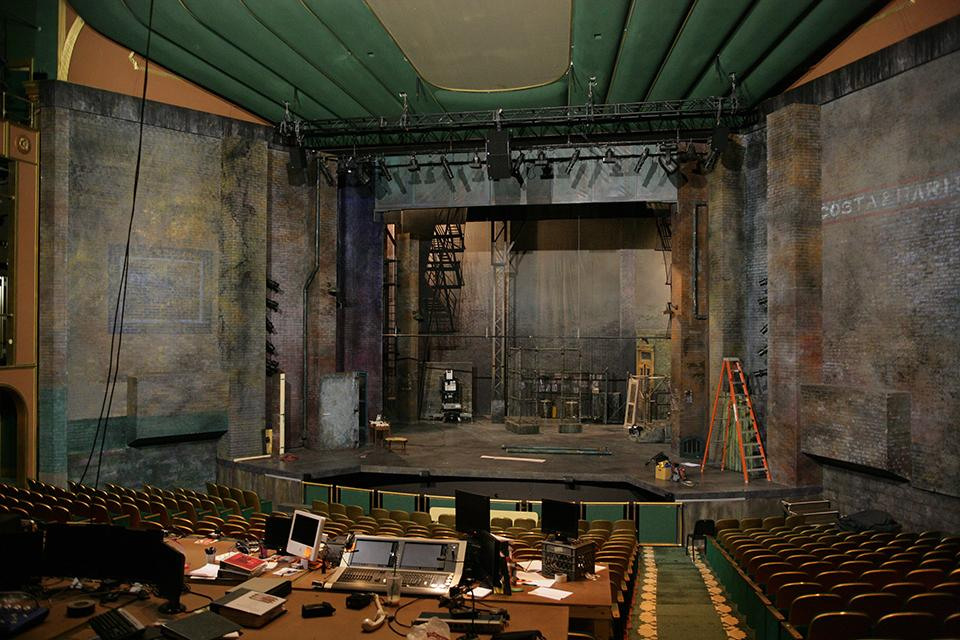 """The stage for """"West Side Story"""" takes shape at the Stevens Center."""