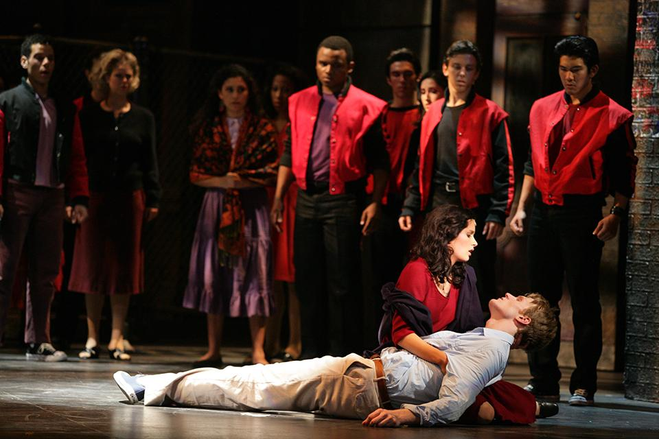 "Anna Wood ('08) as ""Maria"" and Paul Baswell ('08) as ""Tony"" in ""West Side Story."""