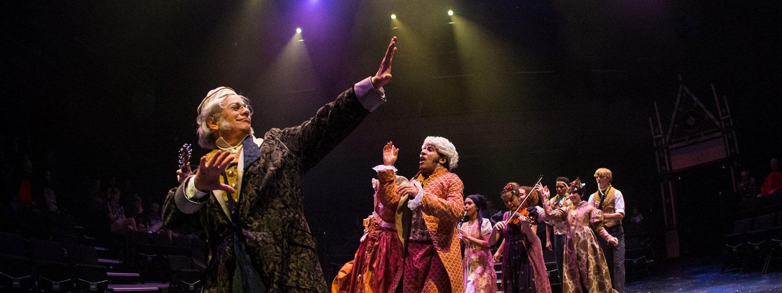 "Wolpe as Ebenezer Scrooge in ""A Christmas Carol."""
