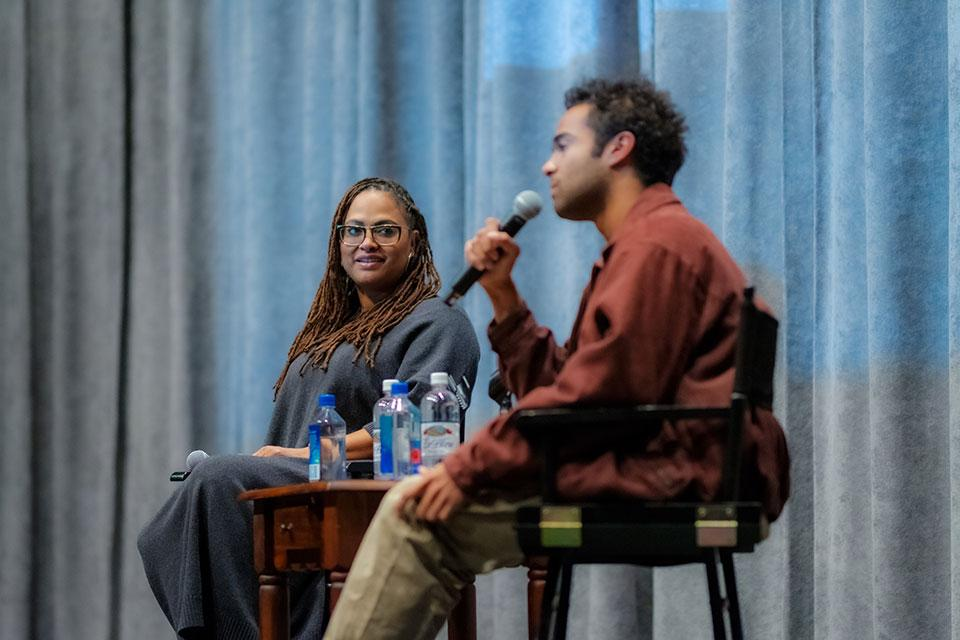 "DuVernay and Youmans discussing ""Burning Cane"" at the screening. / Photo: Raunak Kapoor"