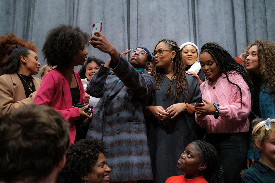 "DuVernay meeting with students at the screening of ""Burning Cane."" / Photo: Raunak Kapoor"