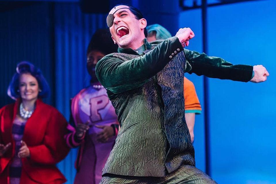 "Taylor as villain 'Sheldon Plankton' in the original Broadway cast of ""SpongeBob SquarePants."""