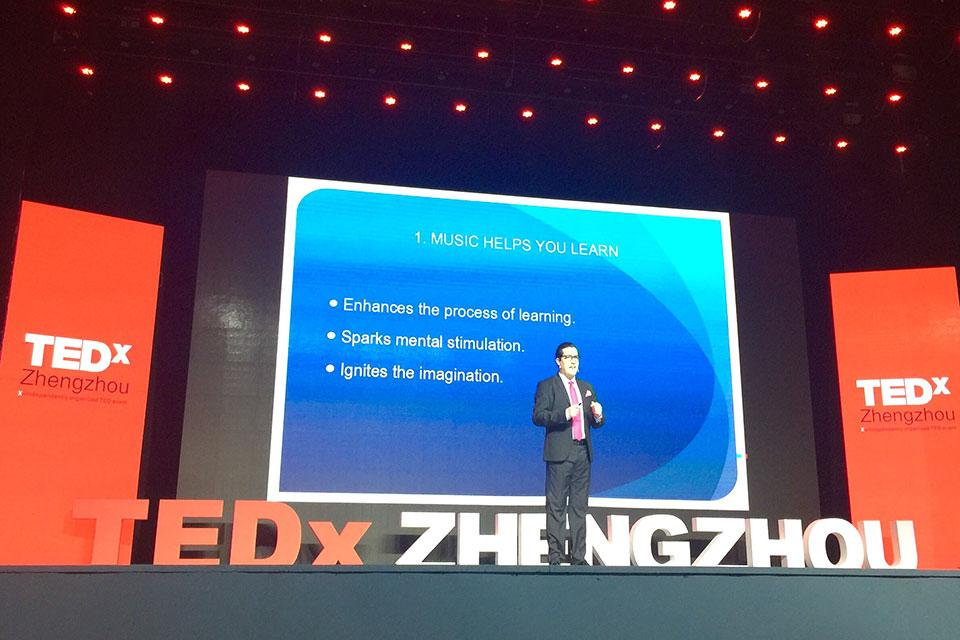 Felipe Tristán speaking at TEDx Zhengzhou, China about the benefits of music.