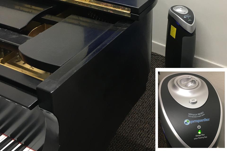 HEPA/UF filter in a piano practice room