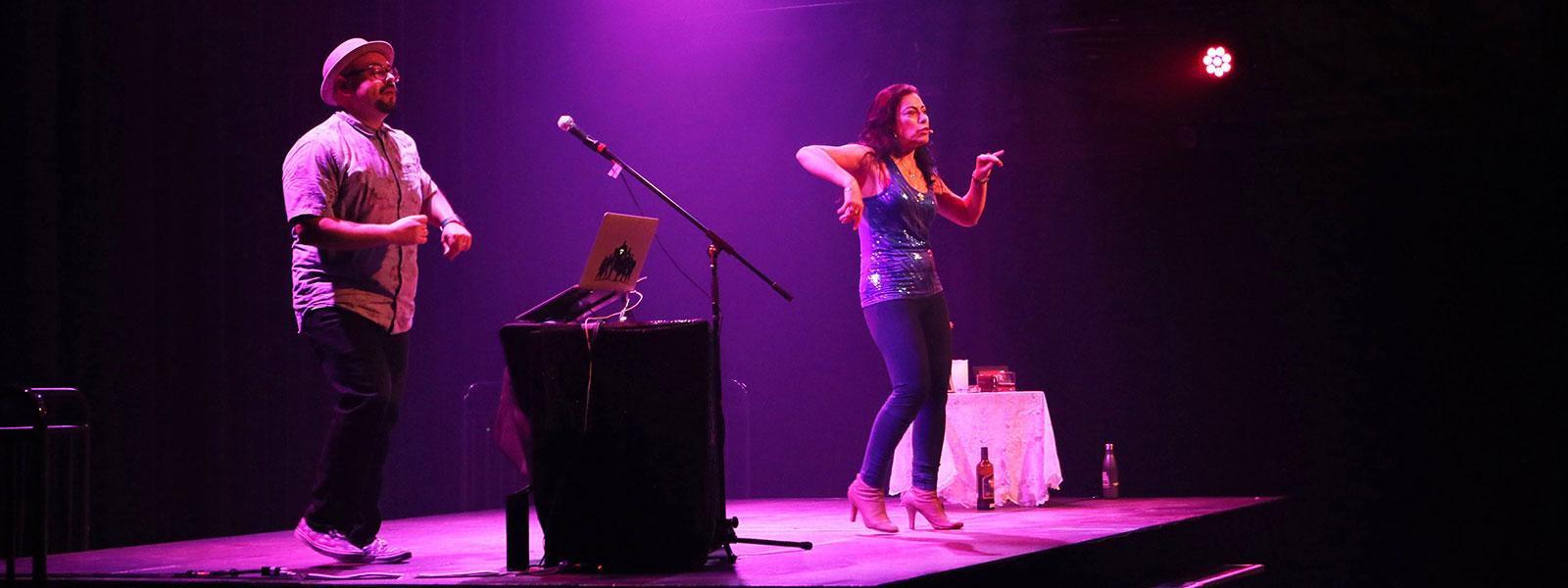 "Carmen Aguirre performing ""Broken Tailbone"" with DJ Pedro Chamale. / Photo: Collins Maina"