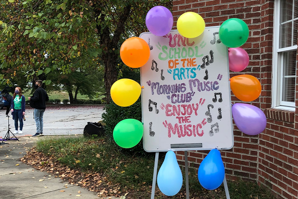 Drive-through events at the Williams Adult Day Center, providing live music and supplies for caregivers and participants. / Photos courtesy of Allison Gagnon and Rebecca Nussbaum