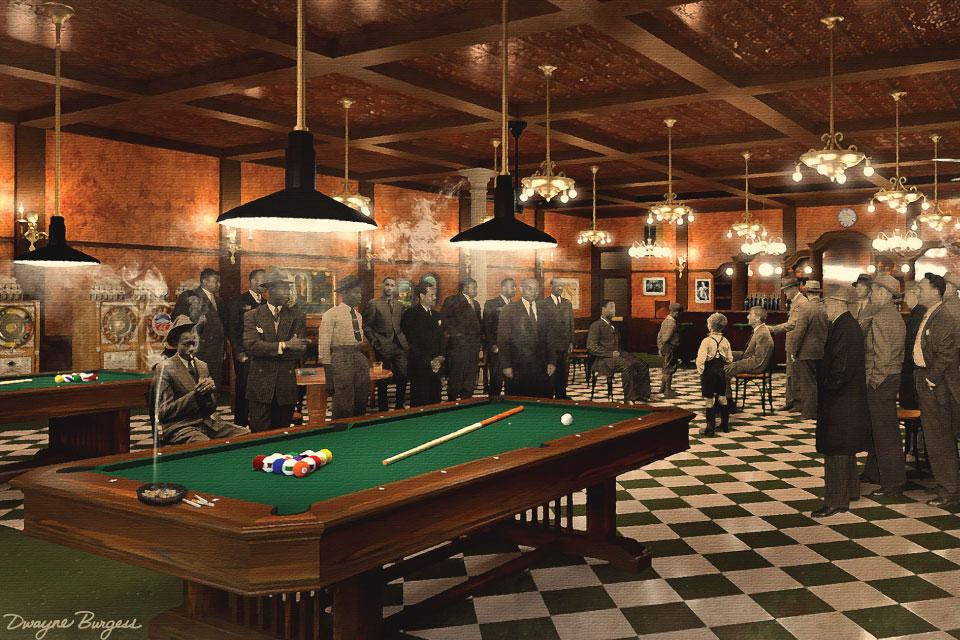 "3D renderings of the Jackson Democratic Club interior set, as seen in FX's ""Fargo"" season 4."