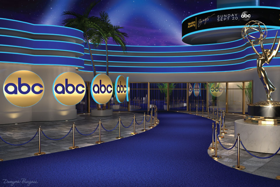 3D rendering of the 2020 Emmys Virtual Media Center for ABC.